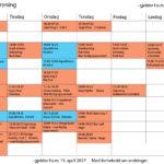 Gruppetimeplan fra påske til sommerferien