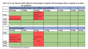 Timeplan for 25 meters bassenget og skråbunnsbassenget uke 7-8