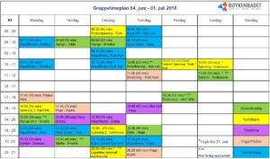 Gruppetimer i juni. Med forbehold om trykkfeil og endringer