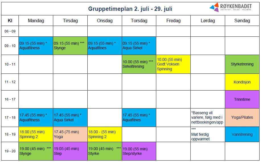 Gruppetimeplan juli 2018