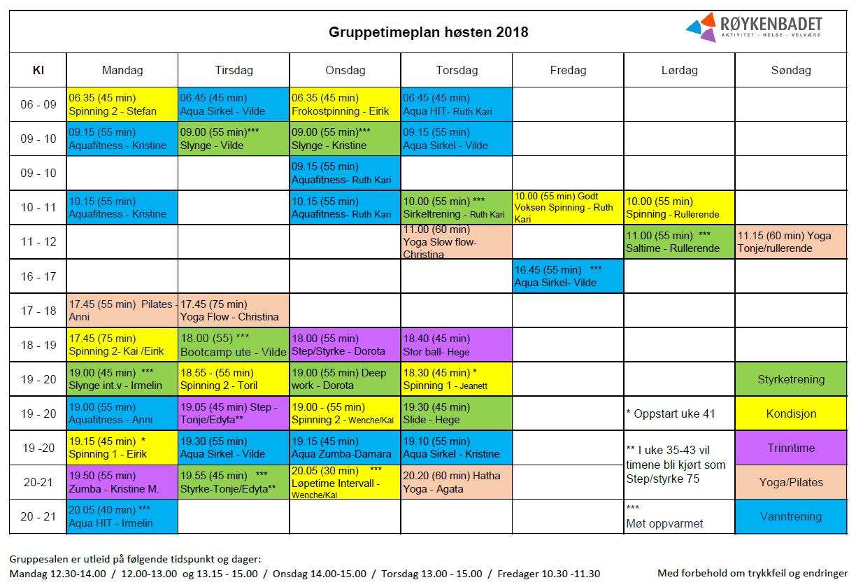 Gruppetimeplanen høsten 2018