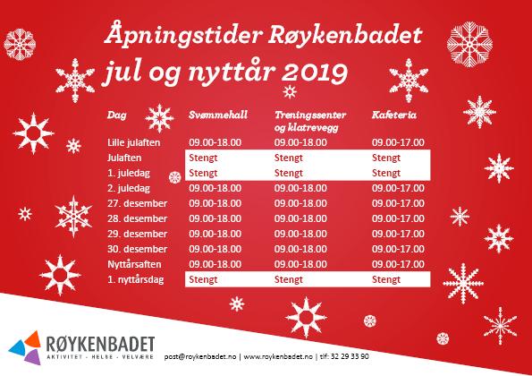 Åpningstider julen 2019